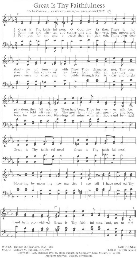 Lyric : lyrics for great is thy faithfulness Lyrics For Great at ...